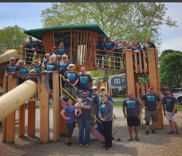 About 50 volunteers from Restoration Services, Inc. (RSI) and the U.S. Department of Energy took part in a beautification effort at Walnut Street Park in Waverly, Ohio, on May 7.