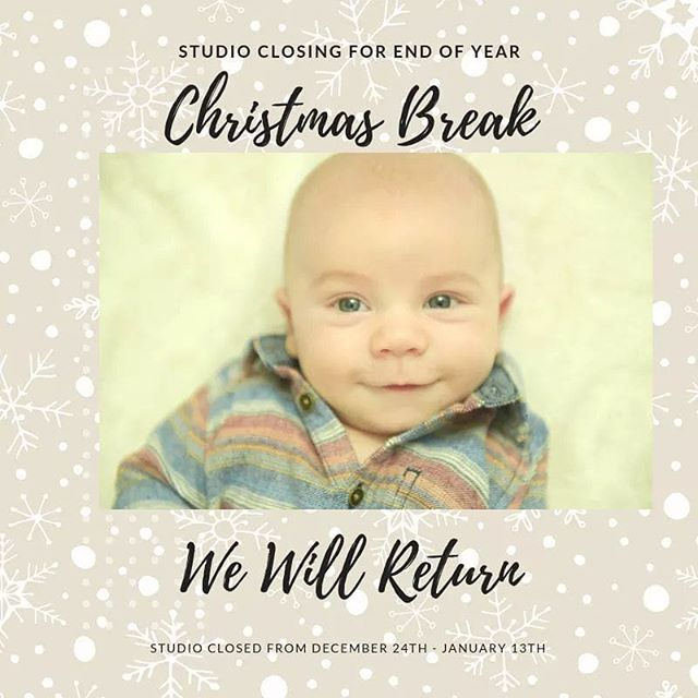 We will be closing for Christmas Break!  Don't worry we will be back in January and we're not closed yet. I am trying to get all open sessions edited and viewing appointments scheduled before I go spend some much deserved time with my family.  Please be aware that I will likely not be answering emails, messages or voicemails during this time unless you need a birth or newborn photographer last minute.  Besides spending time as a family, I have a ton of end of year things to finish up for tax purposes during this time as well.  Thank you for an amazing year!