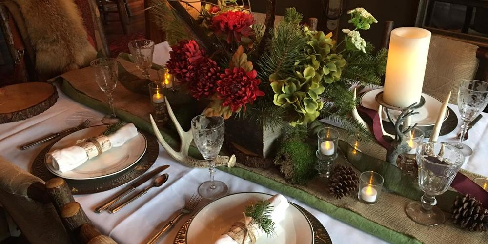 adirondack theme wedding table setting