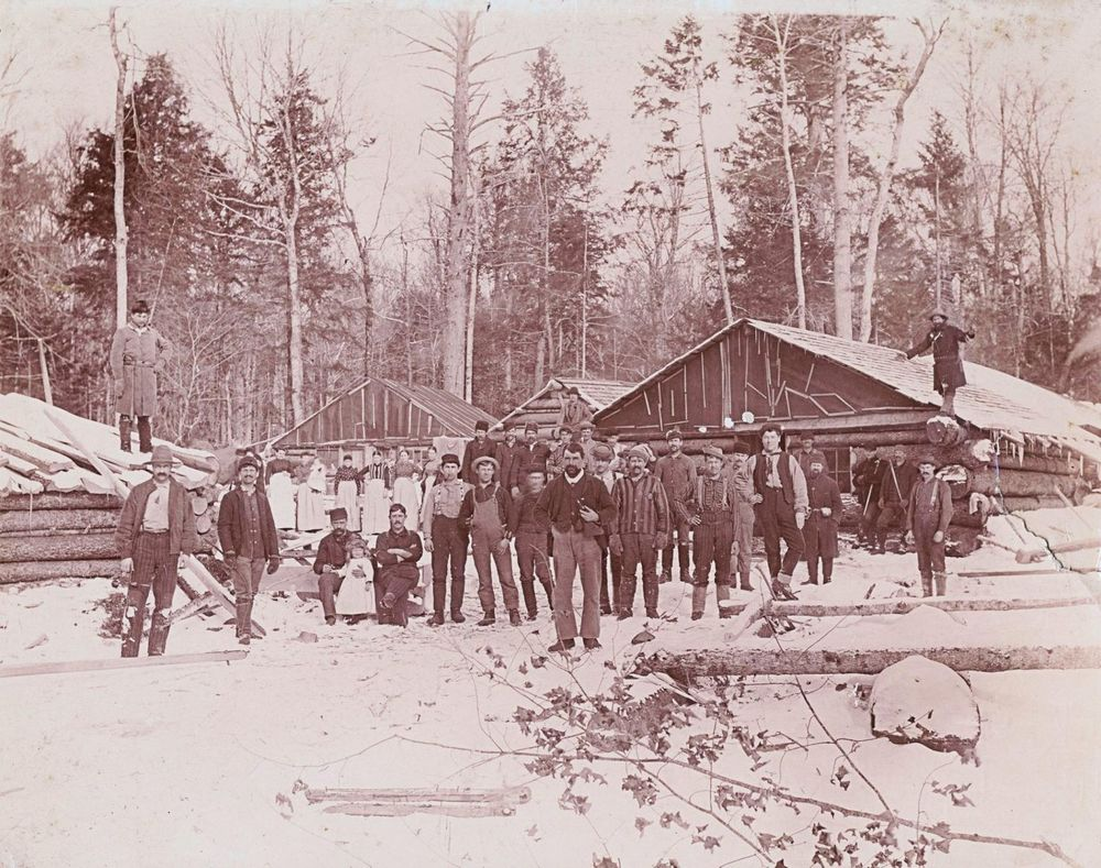 Bear Brook Logging Camp located upstream from the Bog River (c. 1915). Image - Jon Kopp collection.