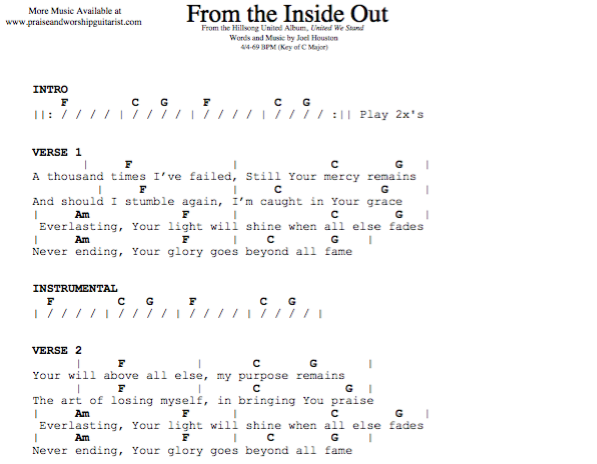 From the Inside Out: C Major (Original Key) — Praise & Worship Guitarist