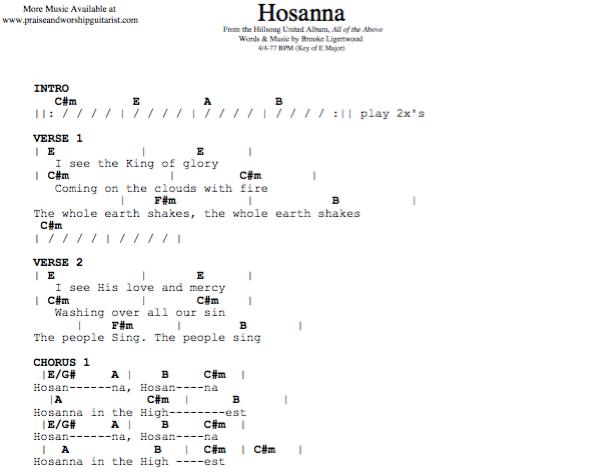 Hosanna E Major Original Key Praise Worship Guitarist