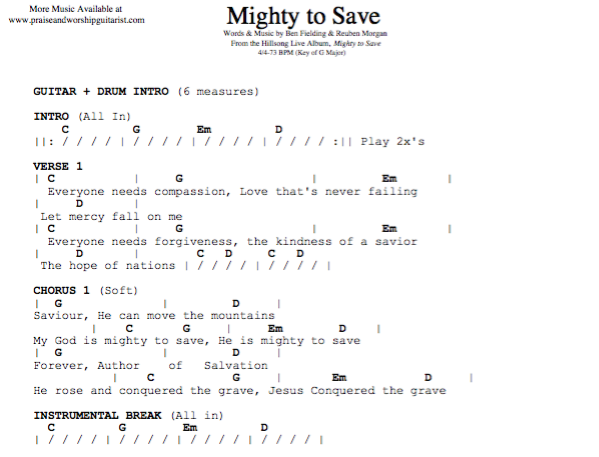 Mighty to Save: G Major — Praise & Worship Guitarist