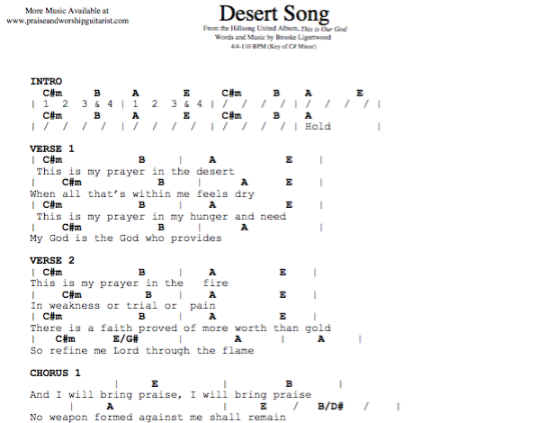Desert Song: C# Minor — Praise & Worship Guitarist