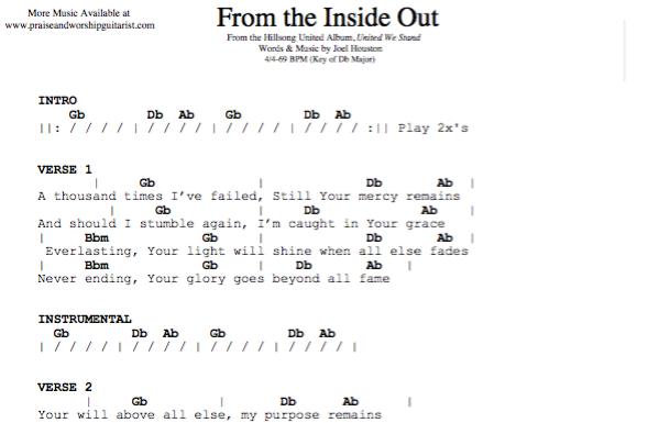 From the Inside Out: D-flat Major — Praise & Worship Guitarist