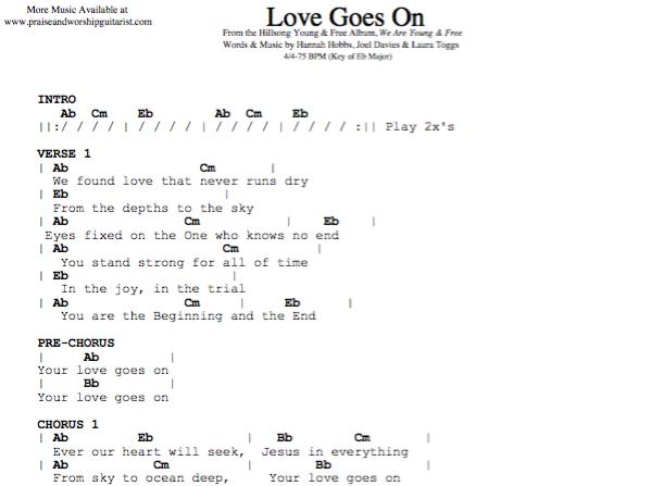 Love Goes On: E-flat Major — Praise & Worship Guitarist