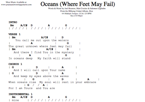 Oceans Chord Chart Ibovnathandedecker