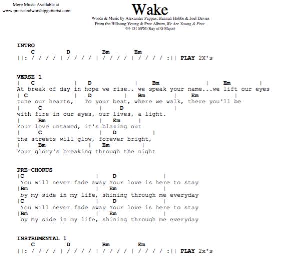 Wake: G Major (Original Key) — Praise & Worship Guitarist