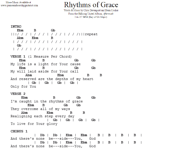 Rhythms of Grace: G-Flat Major — Praise & Worship Guitarist