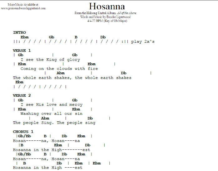 Hosanna G Flat Major Praise Worship Guitarist