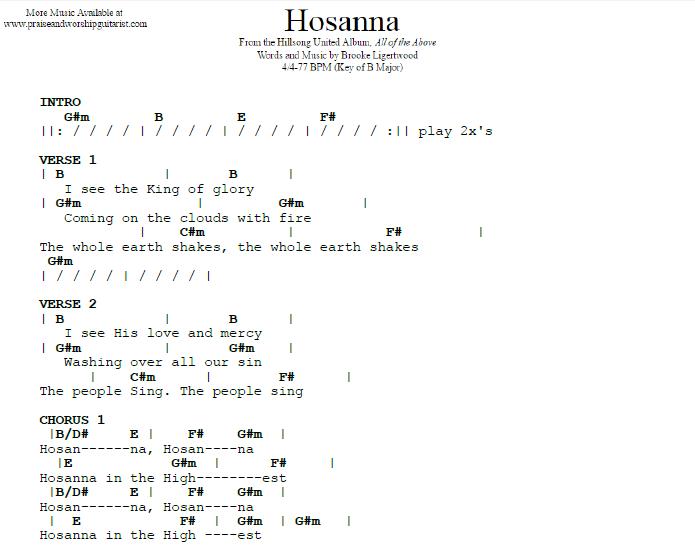 Hosanna B Major Praise Worship Guitarist