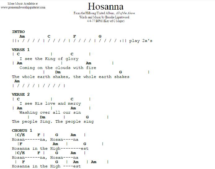 Hosanna C Major Praise Worship Guitarist
