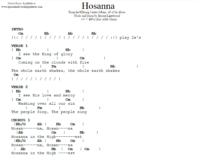 Hosanna: E Flat Major — Praise & Worship Guitarist