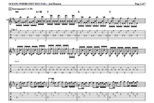Hillsong United: Oceans (Tab) — Praise & Worship Guitarist