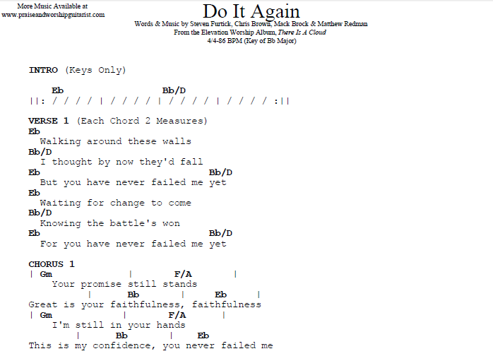 Do It Again B Flat Major Original Key Praise Worship Guitarist