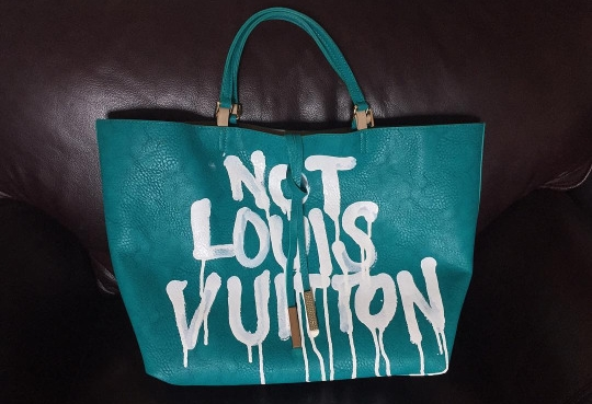 Keeping it Real, 2014  Enamel based ink on tote bag with fake gold accents