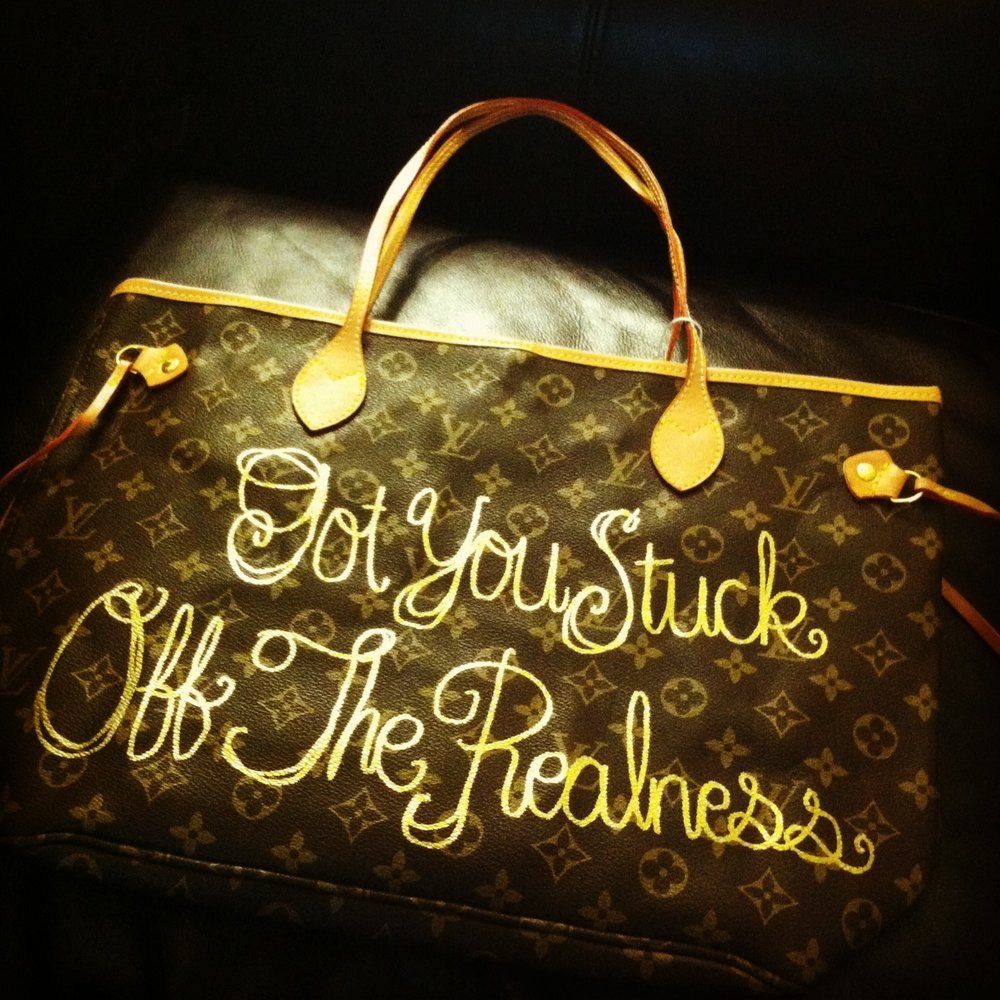 Mobb Deep, 2011  Gold oil-based paint pen on fake Louis Vuitton tote bag