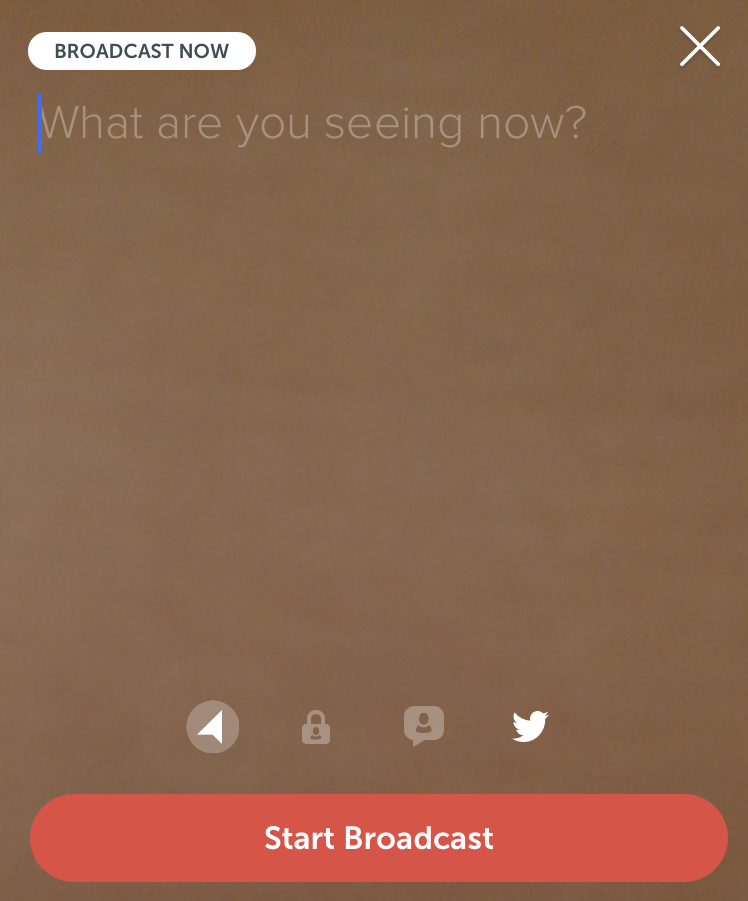 "Periscope ""Start Broadcast"" screen"