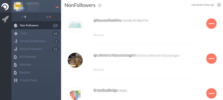 "UPDATE: Crowdfire used to show ""NonFollowers"" and ""Recent Unfollowers."" Instagram no longer provides tools with access to carry out this type of action."