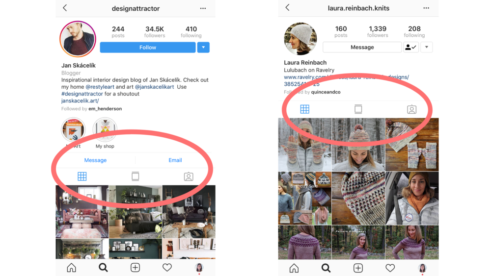 Left: an Instagram Business Profile with buttons to send a message or an email. Right: an Instagram Personal Profile without the buttons.