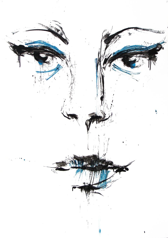 Février 2012 -Aérosol sur affiche 70 x 100 - Encre femme 2