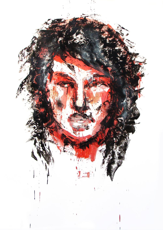 Février 2012 -Aérosol sur affiche 70 x 100 - Encre femme rouge