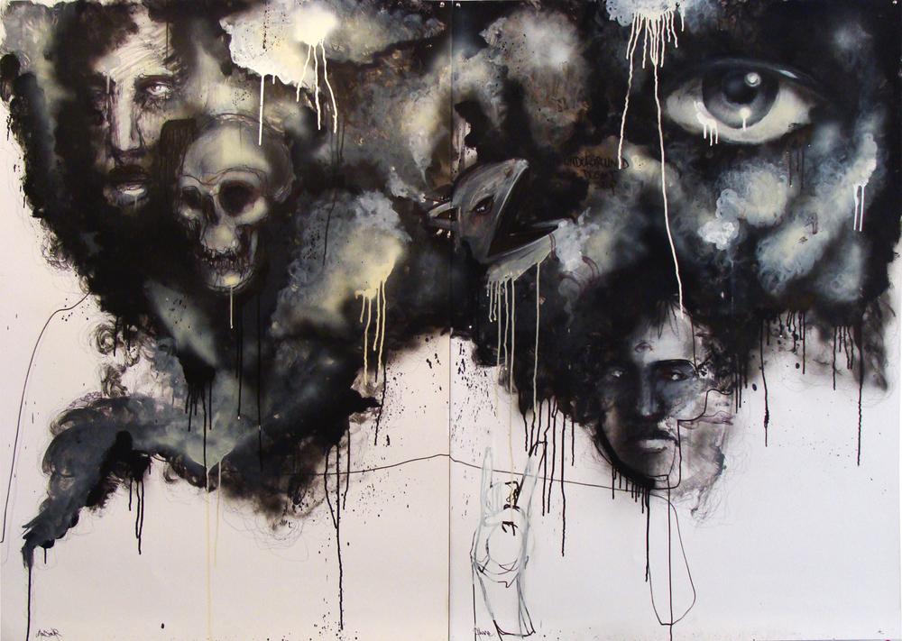 Septembre 2013 -  Technique mixte sur affiche - Noir Période