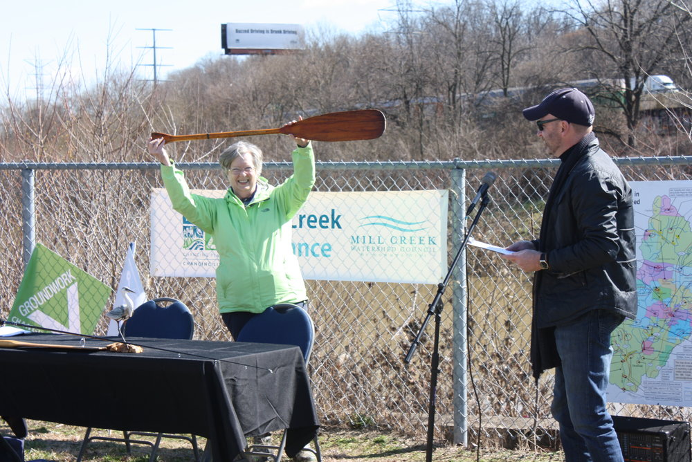 Mill Creek Alliance - press conf - Pat with paddle.JPG