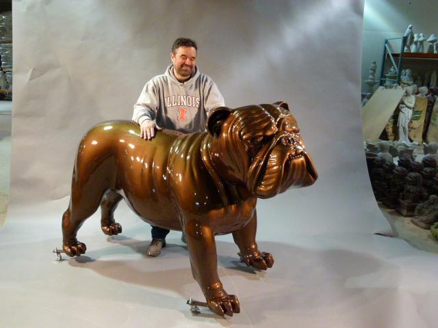 Fiberglass bulldog mascot