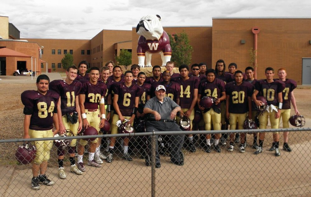 """Yes that is a real rock. Local radio station has named the bulldog Buster. The man in the middle with the team coached me. Emil Nasser coached  at Winslow High School for 35 years 1947 to 1983. He is 93 years old. He is still a Bulldog Booster. My grandson plays on this team. Buster is  the  finishing touch to our Spirit Rock. ""GO Get'em Bulldogs"" Thanks to you and Chicago Fiberglass Works !!!!! ""  Joe Benham"