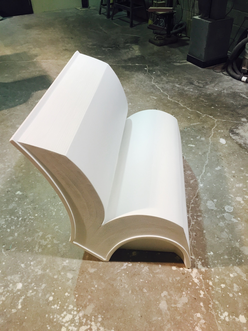 Finished Prototype fiberglass book bench