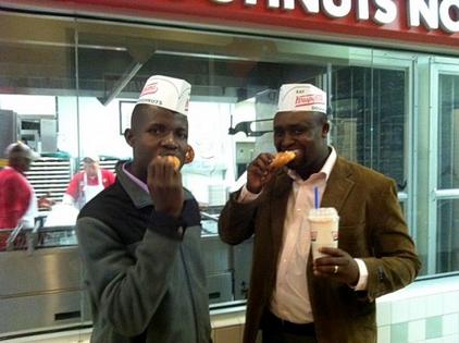 Cornel and Duncan at Krispy Kreme in 2011