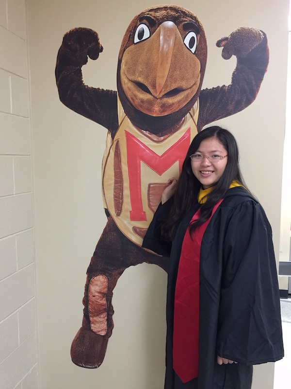 Photo:  Yimei Cai, Physiology and Neurobiology major, graduated May, 2015; Will begin the Master's Certification program at the University of Maryland, College of Education,  summer 2016.