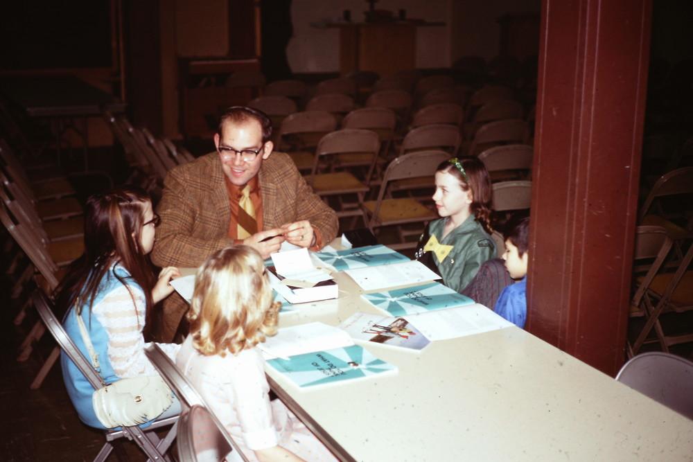 Feb. 7, 1971 POP First Worship Dave Leider's SS Class with Cindy Webster+ Elizabeth Baker + .jpg