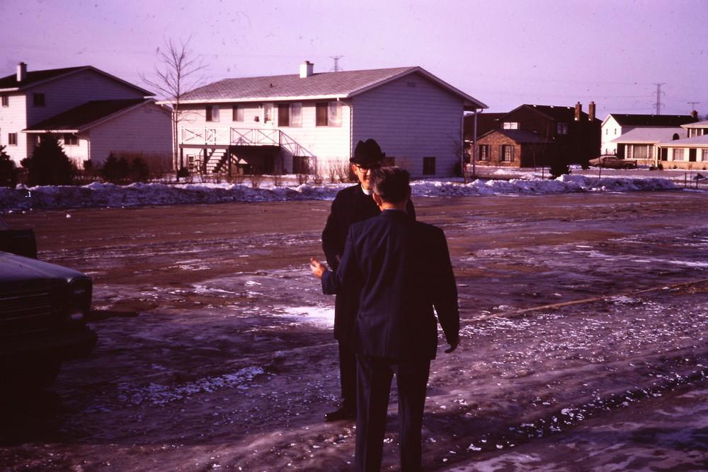 Feb. 7, 1971 Pr. Kleidon arrives for first worship at Virginia Lake School.jpg