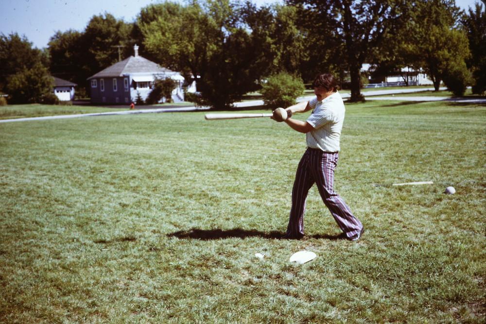 Sept 1971 POP Picnic, Bill Limbaugh takes a swing.jpg