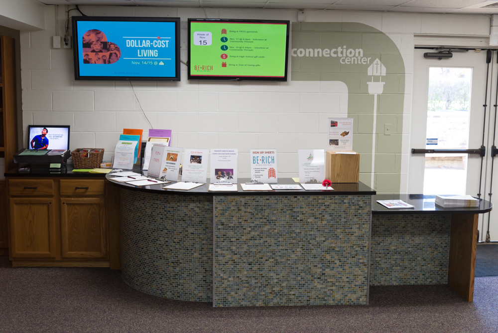 Need help finding things or help getting connected? Stop by the Connection Center.