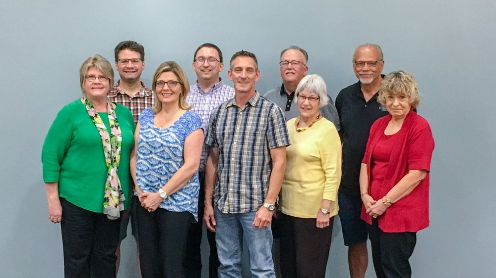 Pictured (left to right):  Donna Younger  (Vice Chair) , Derek Giromini  (Secretary) , Val Ridgway, Troy Heinritz  (Chair) , Joe Guyer, Bill Heffernan, Mary Gail Ford, Ted Wiemann, Linda Plegge
