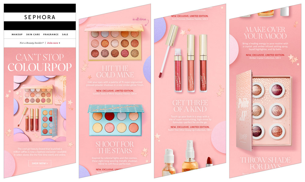 Colourpop brand launch email