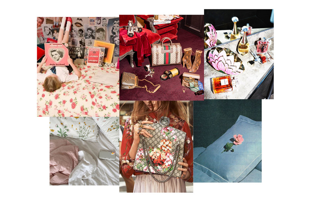 Inspiration for Gucci shots: soft, floral, lived-in
