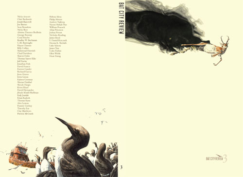 "Issue 3 Cover Art by George Boorujy (Left: ""Guillemots"". Right: ""Pronghorn"")"