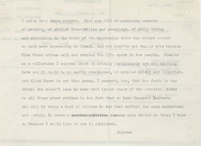 "Knopf editor Judith Jones's 1971 rejection sheet for Alice Munro's collection, Lives of Girls & Women. Of the Nobel Laureate's prose, Jones contends, ""...there is nothing particularly new and exciting here and it could be easily overlooked, or sampled quickly and forgotten."" From the Harry Ransom Center Collections."