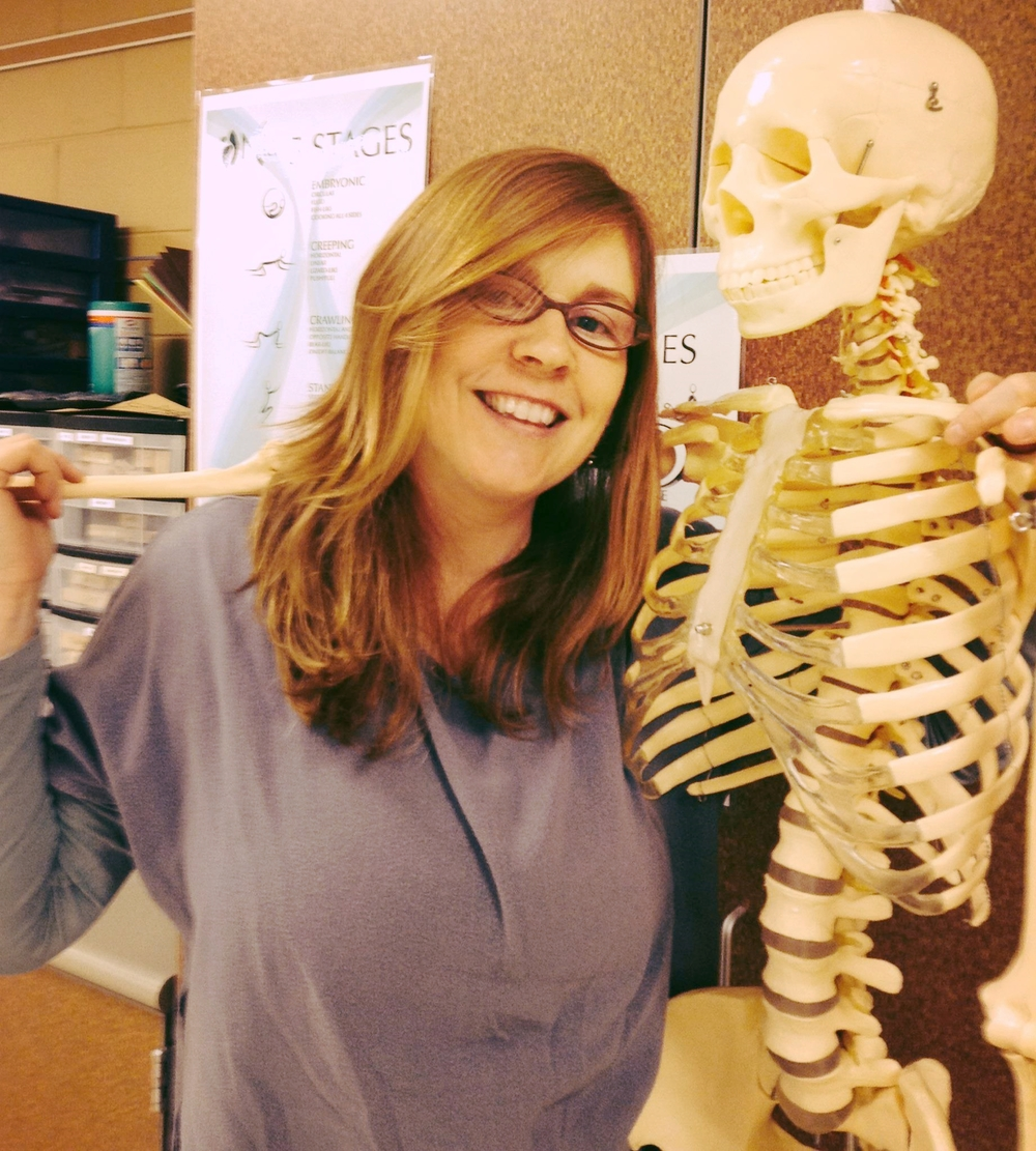 Betty Bones, the teacher's assistant, congratulating me for sticking it out with the freaky class.