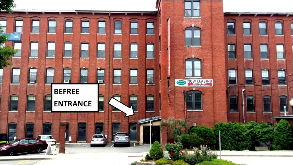 Front of Washington Street Mill building showing BeFree entrance