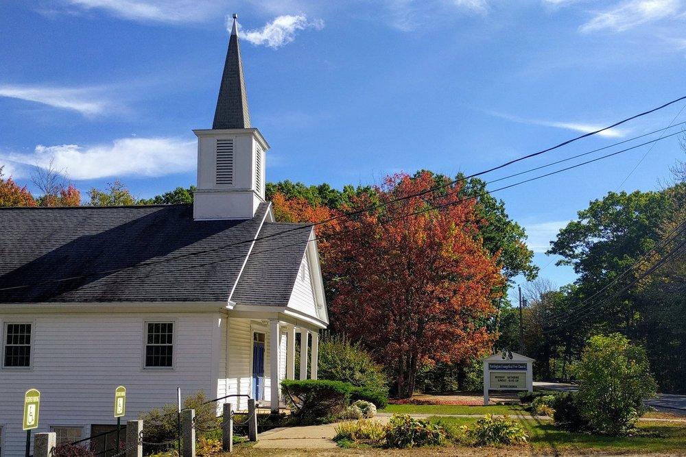 Barrington church building in autumn
