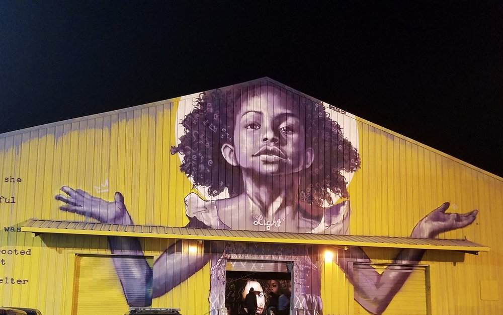 Check out this gorgeous mural outside of Studio Be, a 35,000 sq ft warehouse of art!