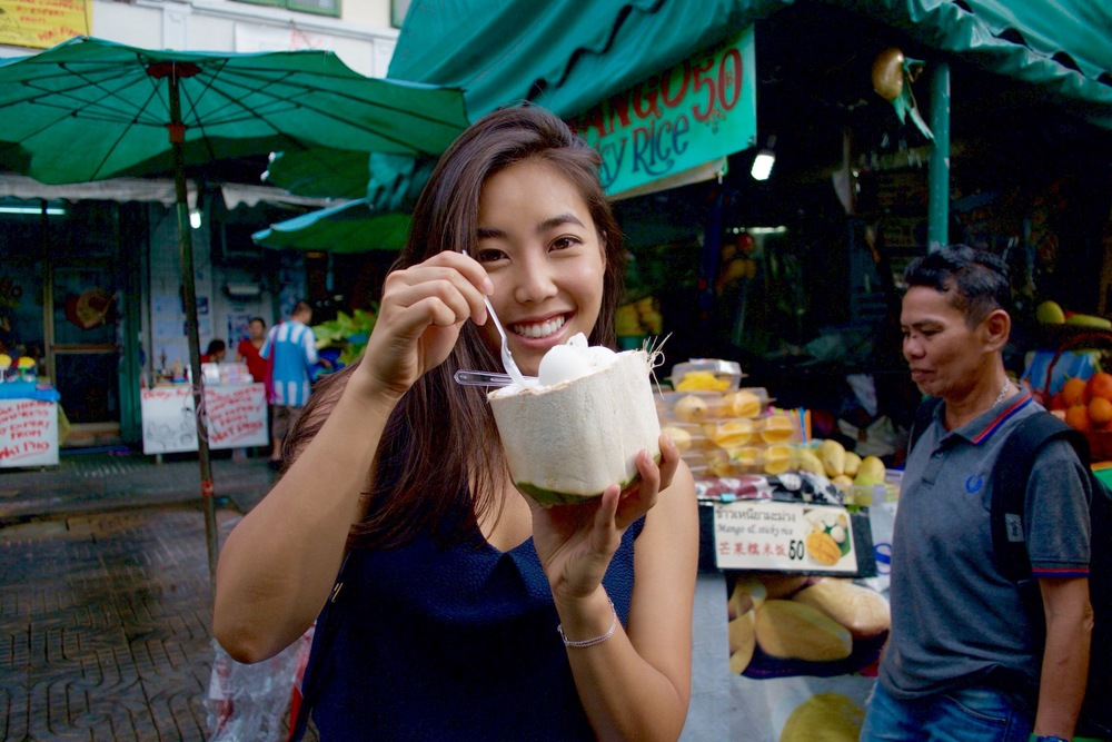 The guy in the back wished he had a coconut ice-cream