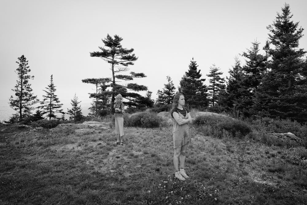 Two Girls, Rocks, Trees