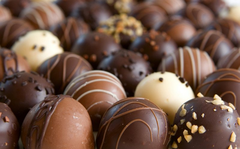 "Chocolate pralines, or ""bonbons."""