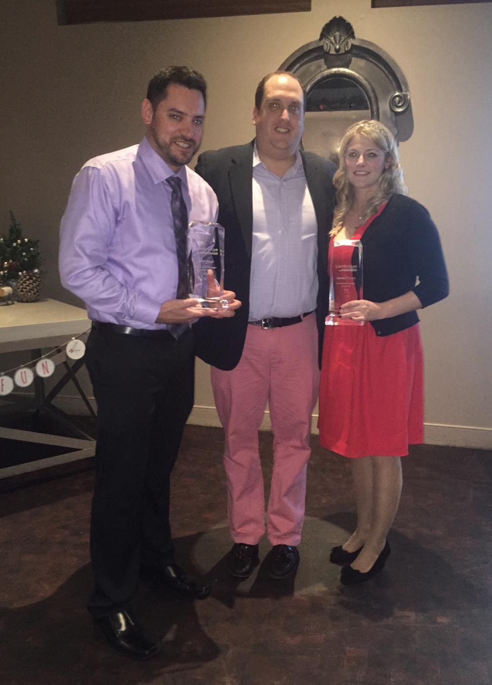 (L to R) Online Sales Manager John Sholl, VP of Online Sales Aaron Hakeson, and Online Sales            Manager Lauren Forest.